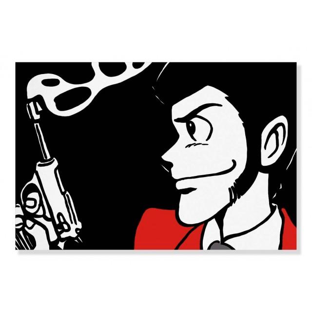 Quadro Lupin con pistola bianca