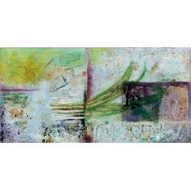quadro astratto moderno con onda verde