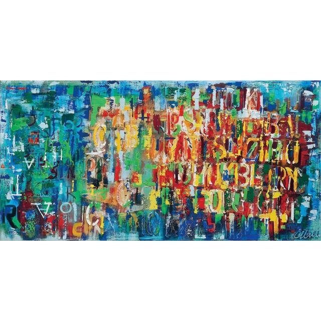 quadro astratto moderno con lettere multicolors