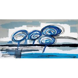 quadro astratto moderno blu-grigio