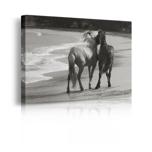Quadro cavalli in spiaggia prospettiva