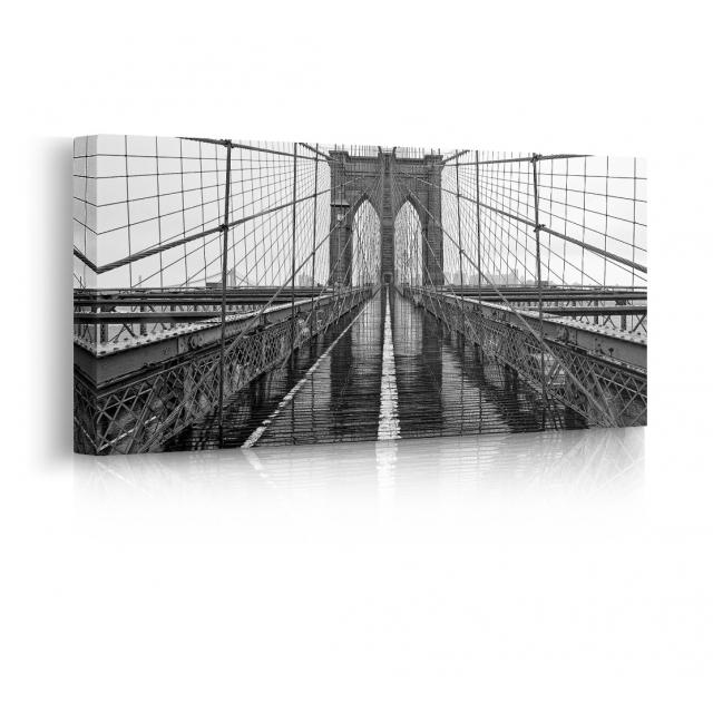 Quadro ponte di Brooklyn bianco e nero pioggia prospettiva
