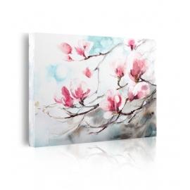 quadro fiori bianchi e rosa prospettiva