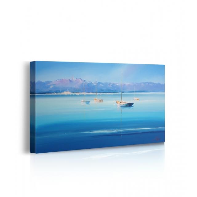 quadro barca sul lago prospettiva