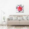 Quadro fiore rosa ambientazione