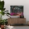 Quadro con fiori rosa ambientazione