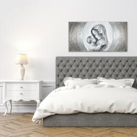 quadro maternità con aureola in argento