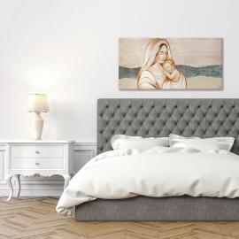 quadro maternità con lamina e ricci in argento