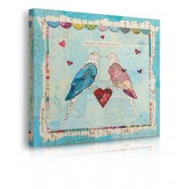 Quadro uccellini innamorati prospettiva