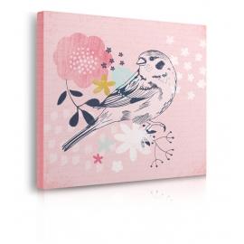 Quadro uccello con sfondo rosa prospettiva