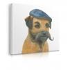 Quadro cane con capello e baffi prospettiva