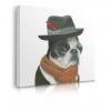 Quadro cane con capello e sciarpa prospettiva