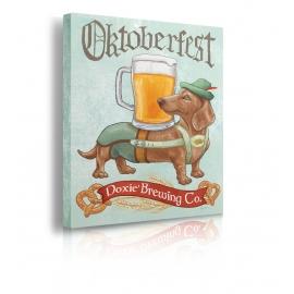 Quadro cane e birra prospettiva