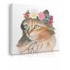 Quadro gatto con fiori attorno alla testa prospettiva