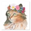 Quadro gatto con fiori attorno alla testa
