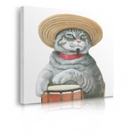 Quadro gatto suona con capello di paglia prospettiva