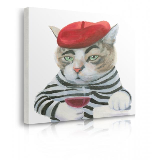 Quadro gatto con bicchiere di vino e capellino prospettiva