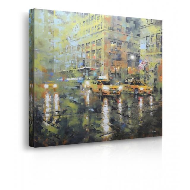 Quadro Manhattancon taxi gialli e sfondo verde con la pioggia prospettiva