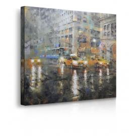 Quadro Manhattan con taxi gialli e pioggia prospettiva