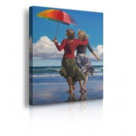 Quadro donne con ombrello riva al mare prospettiva