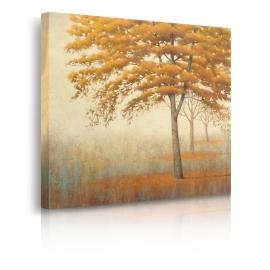 Quadro paesaggio autunno foglie gialle prospettiva