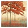 Quadro paesaggio autunno foglie rosse