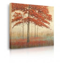 Quadro paesaggio autunno foglie rosse prospettiva