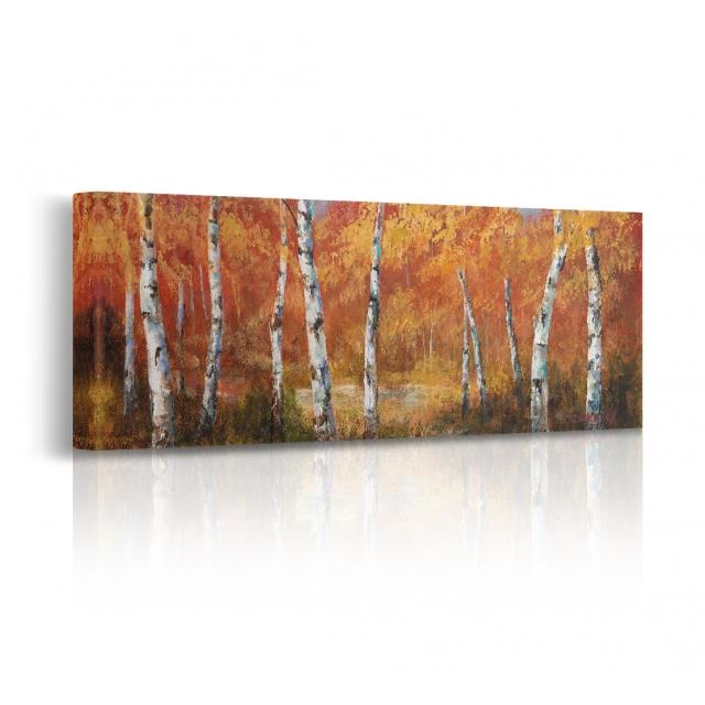 Quadro paesaggio autunno bosco prospettiva