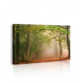 Quadro paesaggio bosco d'autunno prospettiva